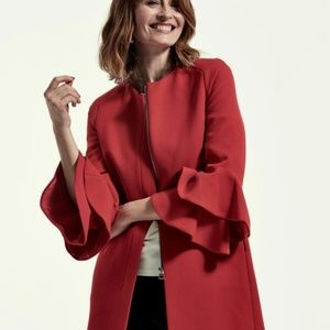 Zara Frilled Sleeve Red Coat Small